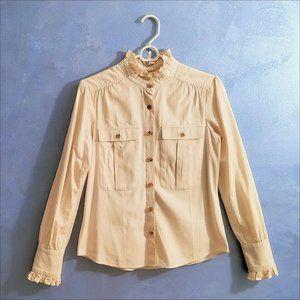 Hunter Dixon New York Button Down Shirt with elegant ruffles EUC